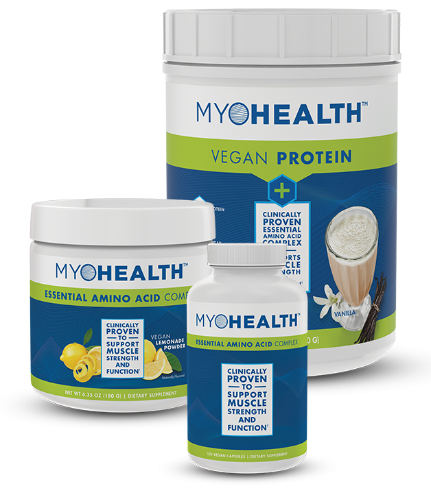 MyoHealth essential amino acid complex supplement products from TriVita